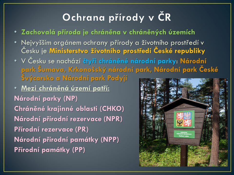 Zachovalá příroda je chráněna v chráněných územích Zachovalá příroda je chráněna v chráněných územích Nejvyšším orgánem ochrany přírody a životního pr