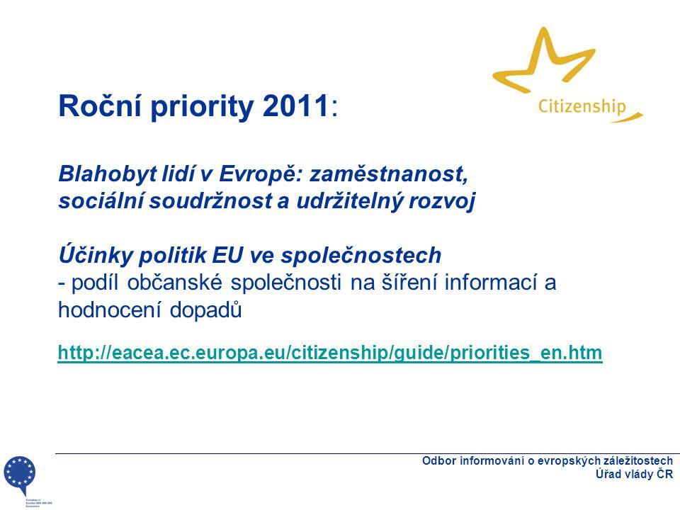 Roční priority 2011: Blahobyt lidí v Evropě: zaměstnanost, sociální soudržnost a udržitelný rozvoj Účinky politik EU ve společnostech - podíl občanské společnosti na šíření informací a hodnocení dopadů http://eacea.ec.europa.eu/citizenship/guide/priorities_en.htm http://eacea.ec.europa.eu/citizenship/guide/priorities_en.htm Odbor informování o evropských záležitostech Úřad vlády ČR