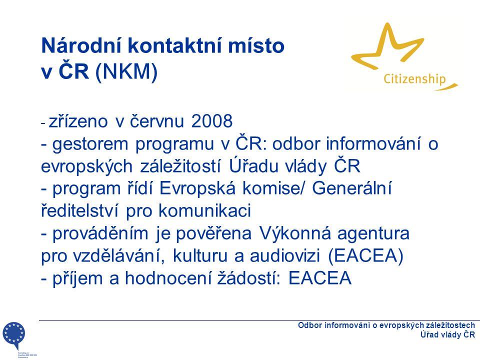 Národní kontaktní místo v ČR (NKM) - zřízeno v červnu 2008 - gestorem programu v ČR: odbor informování o evropských záležitostí Úřadu vlády ČR - program řídí Evropská komise/ Generální ředitelství pro komunikaci - prováděním je pověřena Výkonná agentura pro vzdělávání, kulturu a audiovizi (EACEA) - příjem a hodnocení žádostí: EACEA Odbor informování o evropských záležitostech Úřad vlády ČR