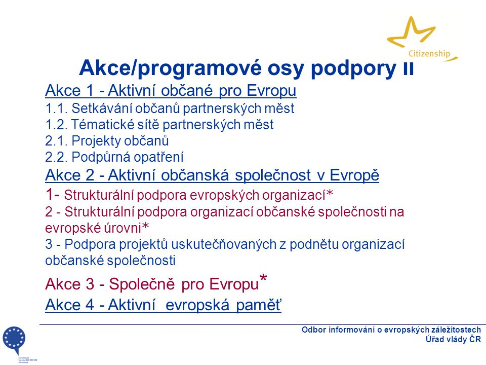 Odbor informování o evropských záležitostech Úřad vlády ČR Akce/programové osy podpory II Akce 1 - Aktivní občané pro Evropu 1.1. Setkávání občanů par