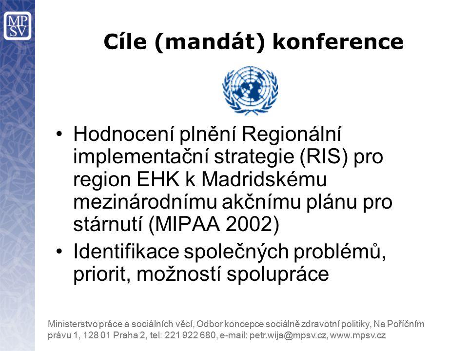 Ministerstvo práce a sociálních věcí, Odbor koncepce sociálně zdravotní politiky, Na Poříčním právu 1, 128 01 Praha 2, tel: 221 922 680, e-mail: petr.wija@mpsv.cz, www.mpsv.cz Hodnocení plnění Regionální implementační strategie (RIS) pro region EHK k Madridskému mezinárodnímu akčnímu plánu pro stárnutí (MIPAA 2002) Identifikace společných problémů, priorit, možností spolupráce Cíle (mandát) konference