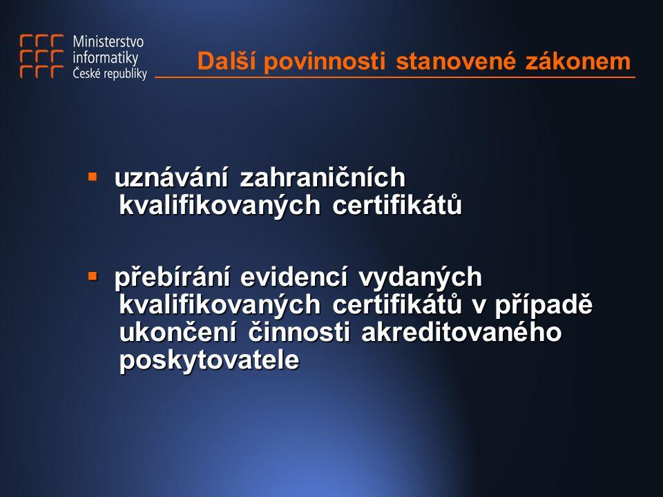 Další povinnosti stanovené zákonem uznávání zahraničních kvalifikovaných certifikátů  uznávání zahraničních kvalifikovaných certifikátů  přebírání evidencí vydaných kvalifikovaných certifikátů v případě ukončení činnosti akreditovaného poskytovatele