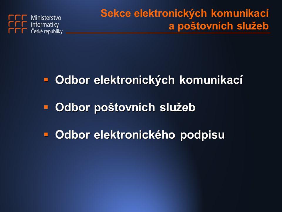 Sekce elektronických komunikací a poštovních služeb  Odbor elektronických komunikací  Odbor poštovních služeb  Odbor elektronického podpisu