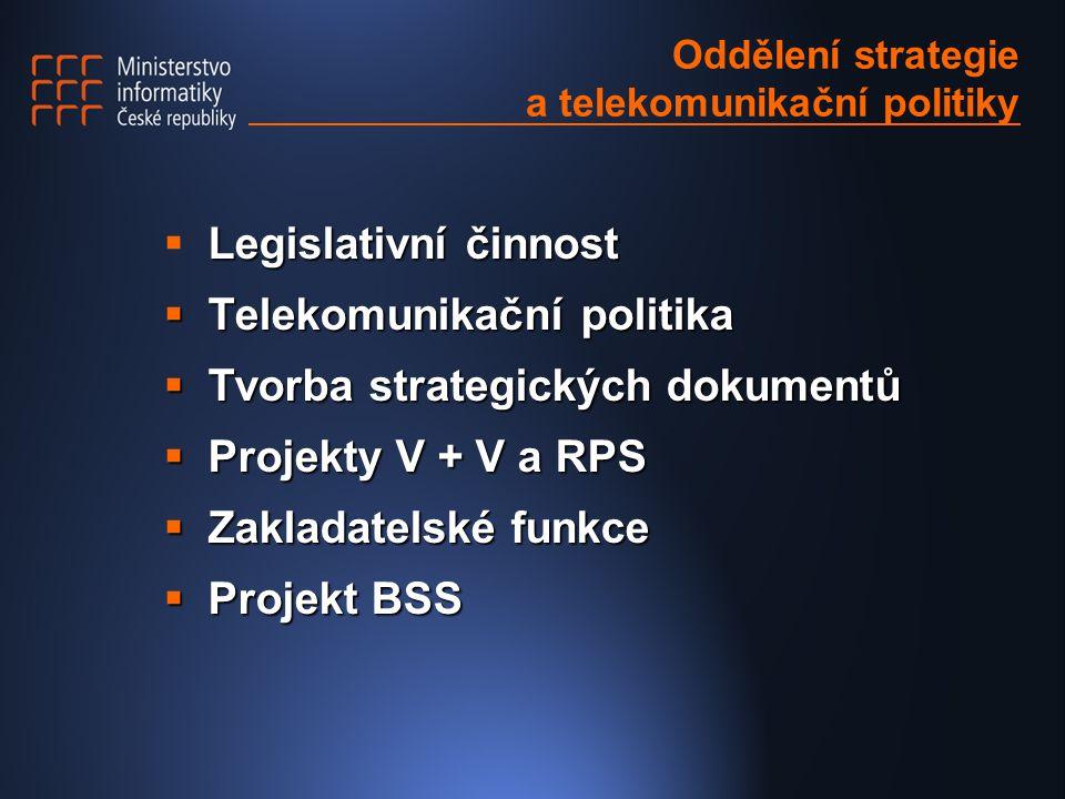 Oddělení strategie a telekomunikační politiky Legislativní činnost  Legislativní činnost  Telekomunikační politika  Tvorba strategických dokumentů  Projekty V + V a RPS  Zakladatelské funkce  Projekt BSS