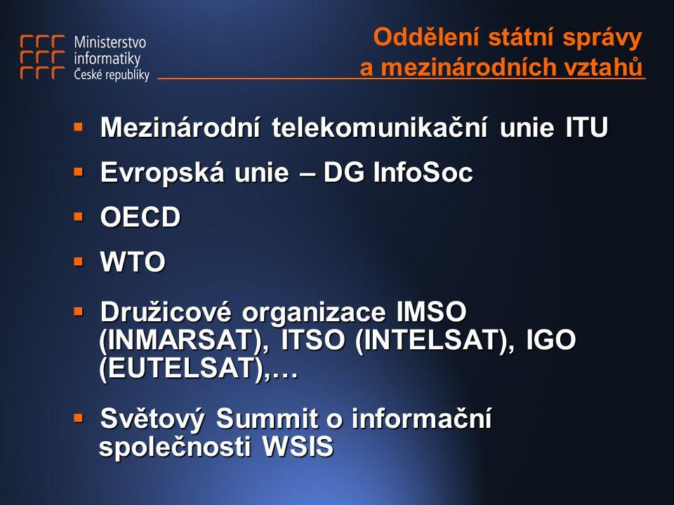 Oddělení státní správy a mezinárodních vztahů Mezinárodní telekomunikační unie ITU  Mezinárodní telekomunikační unie ITU  Evropská unie – DG InfoSoc  OECD  WTO  Družicové organizace IMSO (INMARSAT), ITSO (INTELSAT), IGO (EUTELSAT),…  Světový Summit o informační společnosti WSIS