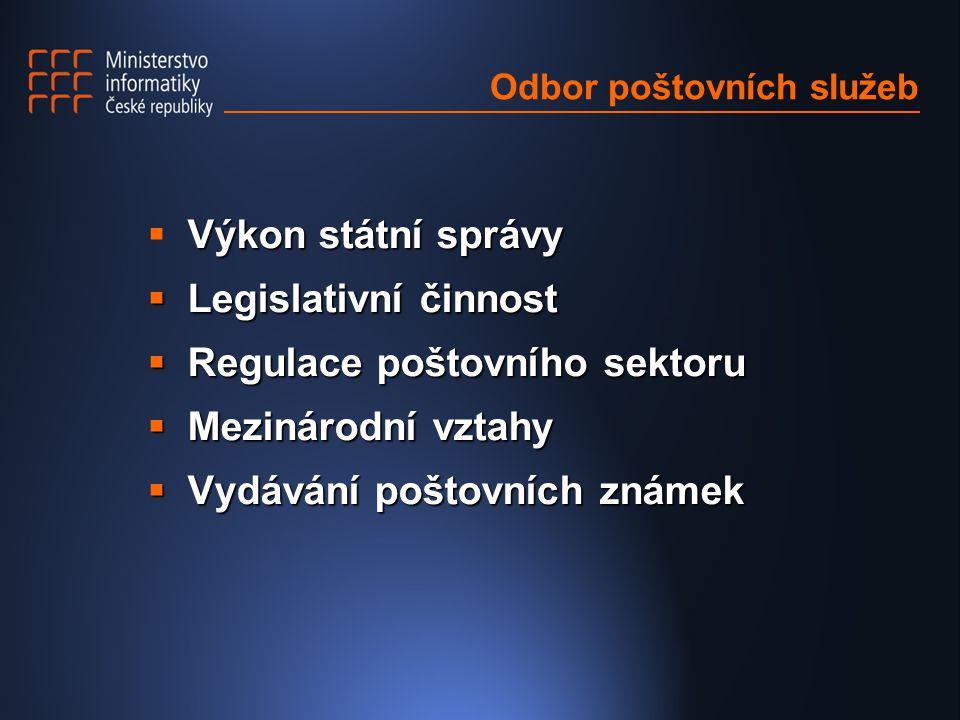 Odbor poštovních služeb Výkon státní správy  Výkon státní správy  Legislativní činnost  Regulace poštovního sektoru  Mezinárodní vztahy  Vydávání poštovních známek