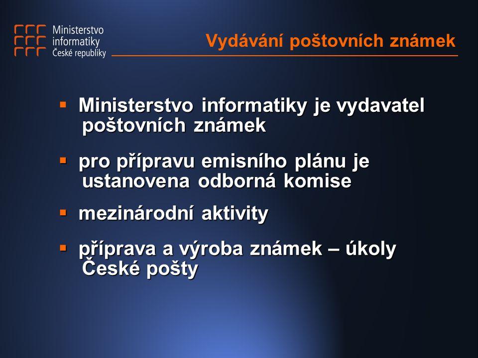 Vydávání poštovních známek Ministerstvo informatiky je vydavatel poštovních známek  Ministerstvo informatiky je vydavatel poštovních známek  pro přípravu emisního plánu je ustanovena odborná komise  mezinárodní aktivity  příprava a výroba známek – úkoly České pošty