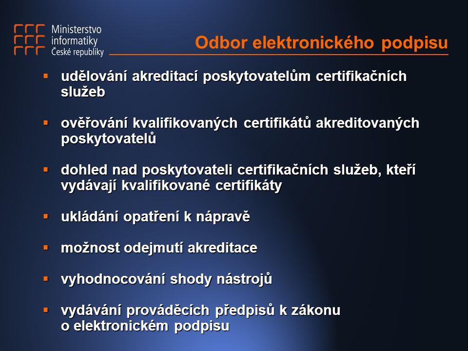Odbor elektronického podpisu udělování akreditací poskytovatelům certifikačních služeb  udělování akreditací poskytovatelům certifikačních služeb  ověřování kvalifikovaných certifikátů akreditovaných poskytovatelů  dohled nad poskytovateli certifikačních služeb, kteří vydávají kvalifikované certifikáty  ukládání opatření k nápravě  možnost odejmutí akreditace  vyhodnocování shody nástrojů  vydávání prováděcích předpisů k zákonu o elektronickém podpisu