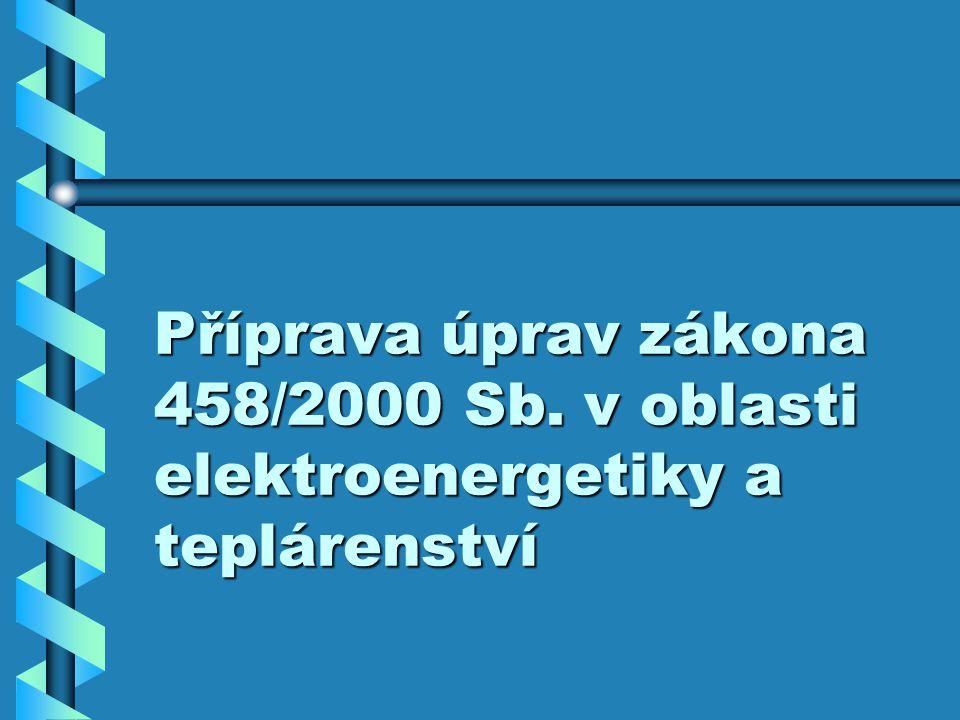 Příprava úprav zákona 458/2000 Sb. v oblasti elektroenergetiky a teplárenství