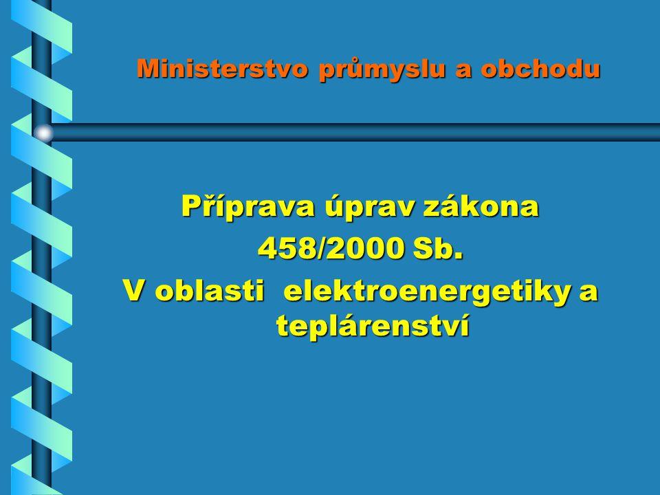 Ministerstvo průmyslu a obchodu Příprava úprav zákona 458/2000 Sb.