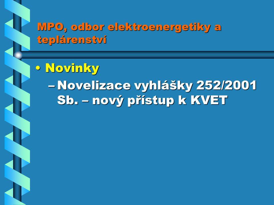 MPO, odbor elektroenergetiky a teplárenství NovinkyNovinky –Novelizace vyhlášky 252/2001 Sb.