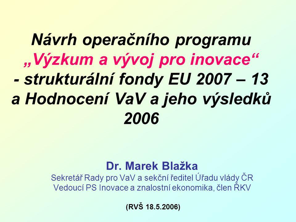 """Návrh operačního programu """"Výzkum a vývoj pro inovace - strukturální fondy EU 2007 – 13 a Hodnocení VaV a jeho výsledků 2006 Dr."""