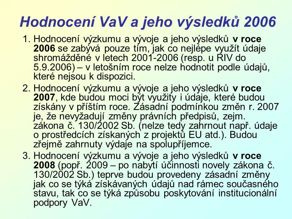 Hodnocení VaV a jeho výsledků 2006 1.Hodnocení výzkumu a vývoje a jeho výsledků v roce 2006 se zabývá pouze tím, jak co nejlépe využít údaje shromážděné v letech 2001-2006 (resp.