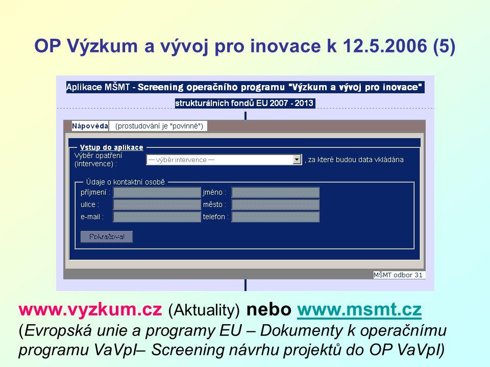 OP Výzkum a vývoj pro inovace k 12.5.2006 (5) www.vyzkum.cz (Aktuality) nebo www.msmt.cz (Evropská unie a programy EU – Dokumenty k operačnímu programu VaVpI– Screening návrhu projektů do OP VaVpI)www.msmt.cz