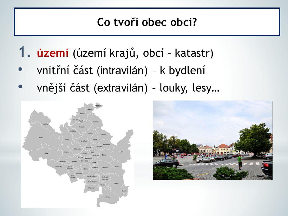 1. území (území krajů, obcí – katastr) vnitřní část (intravilán) – k bydlení vnější část (extravilán) – louky, lesy… Co tvoří obec obcí?