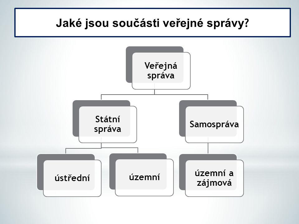 Jaké jsou součásti veřejné správy .