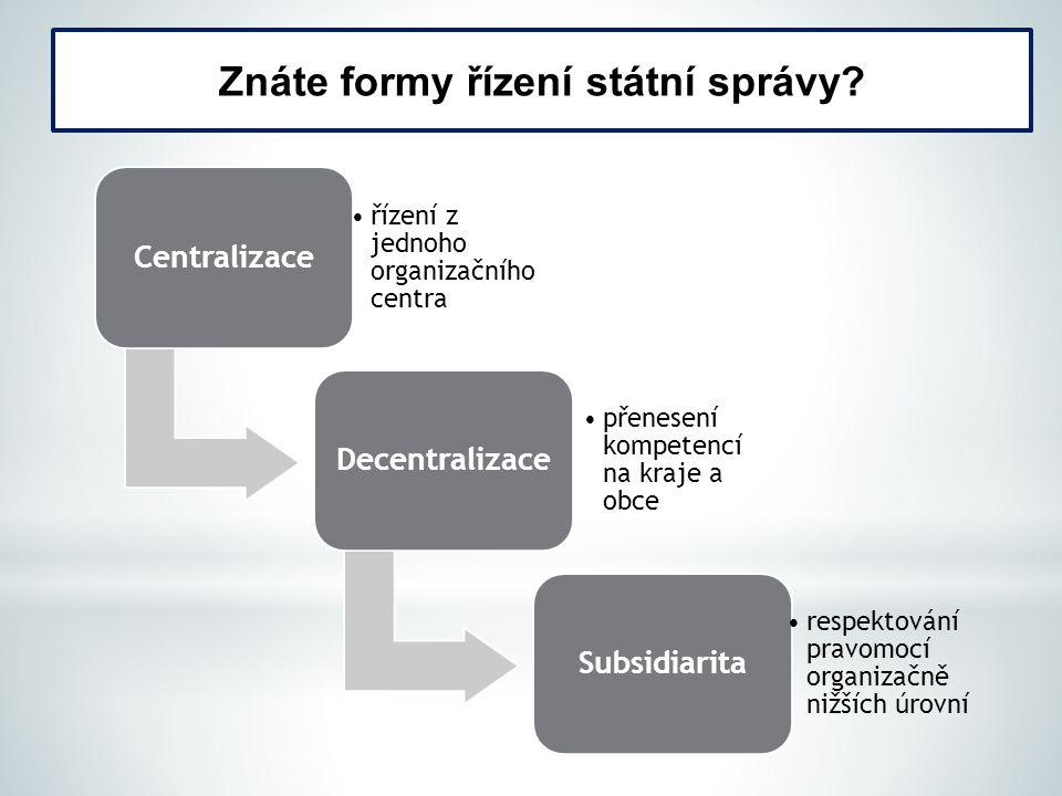 Znáte formy řízení státní správy? Centralizace řízení z jednoho organizačního centra Decentralizace přenesení kompetencí na kraje a obce Subsidiarita