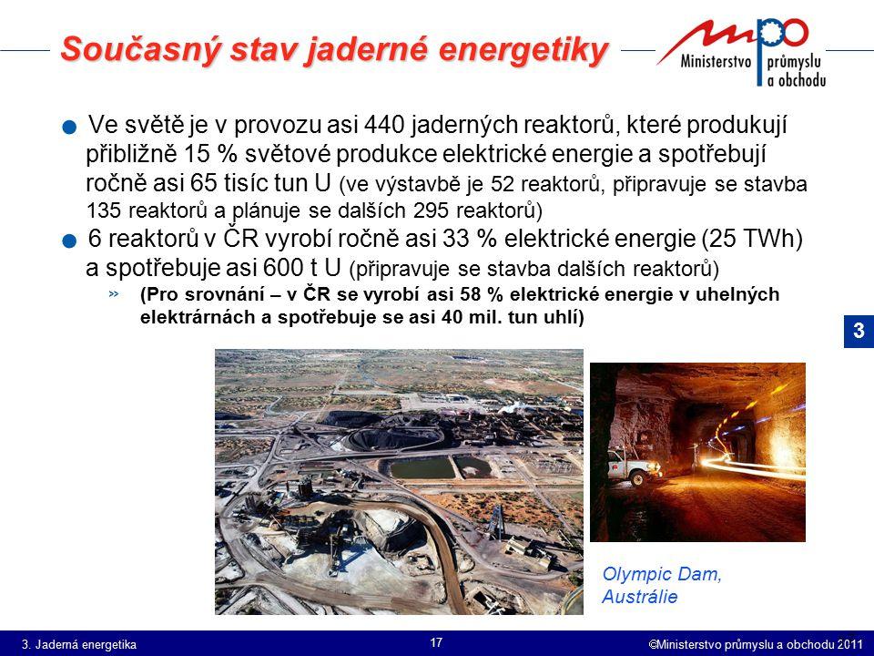  Ministerstvo průmyslu a obchodu 2011 17 Současný stav jaderné energetiky. Ve světě je v provozu asi 440 jaderných reaktorů, které produkují přibližn