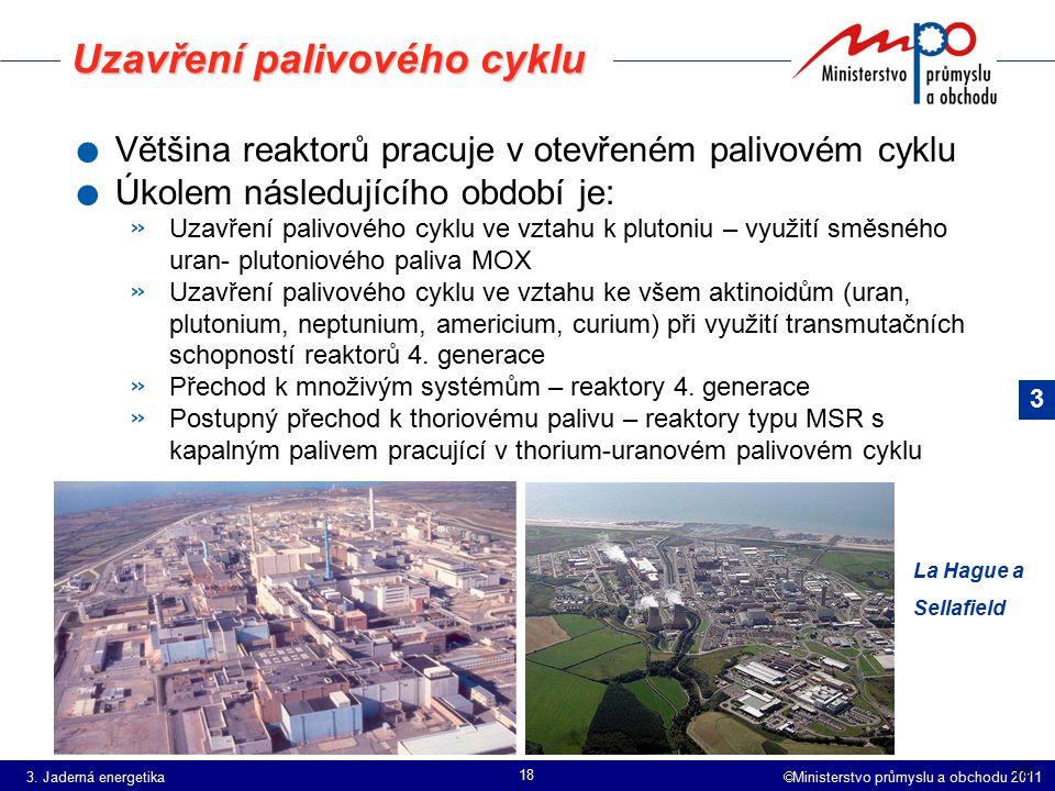  Ministerstvo průmyslu a obchodu 2011 18 Uzavření palivového cyklu. Většina reaktorů pracuje v otevřeném palivovém cyklu. Úkolem následujícího období