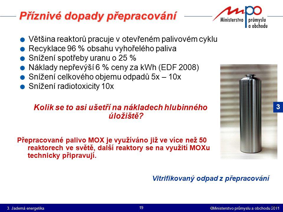  Ministerstvo průmyslu a obchodu 2011 19 Příznivé dopady přepracování. Většina reaktorů pracuje v otevřeném palivovém cyklu. Recyklace 96 % obsahu vy
