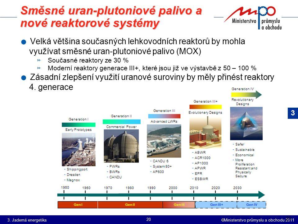  Ministerstvo průmyslu a obchodu 2011 20 Směsné uran-plutoniové palivo a nové reaktorové systémy. Velká většina současných lehkovodních reaktorů by m