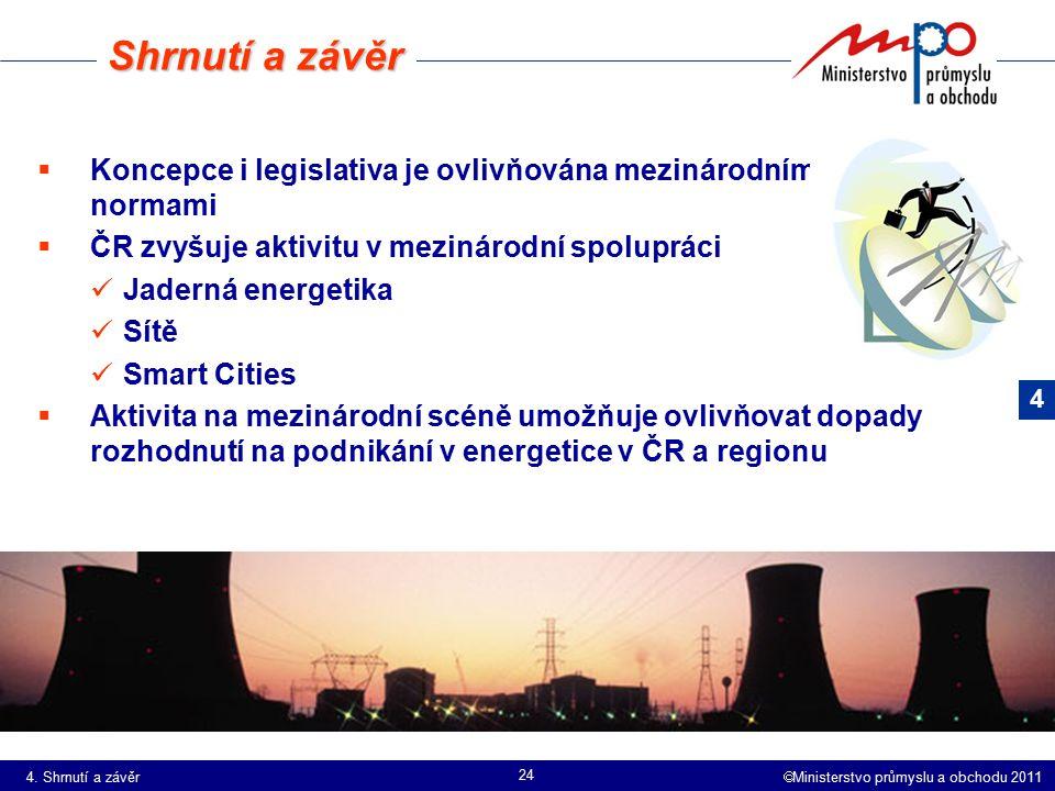  Ministerstvo průmyslu a obchodu 2011 24  Koncepce i legislativa je ovlivňována mezinárodními normami  ČR zvyšuje aktivitu v mezinárodní spolupráci Jaderná energetika Sítě Smart Cities  Aktivita na mezinárodní scéně umožňuje ovlivňovat dopady rozhodnutí na podnikání v energetice v ČR a regionu Shrnutí a závěr 4 4.