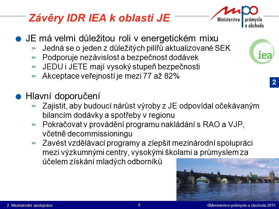  Ministerstvo průmyslu a obchodu 2011 6 Závěry IDR IEA k oblasti JE. JE má velmi důležitou roli v energetickém mixu » Jedná se o jeden z důležitých p
