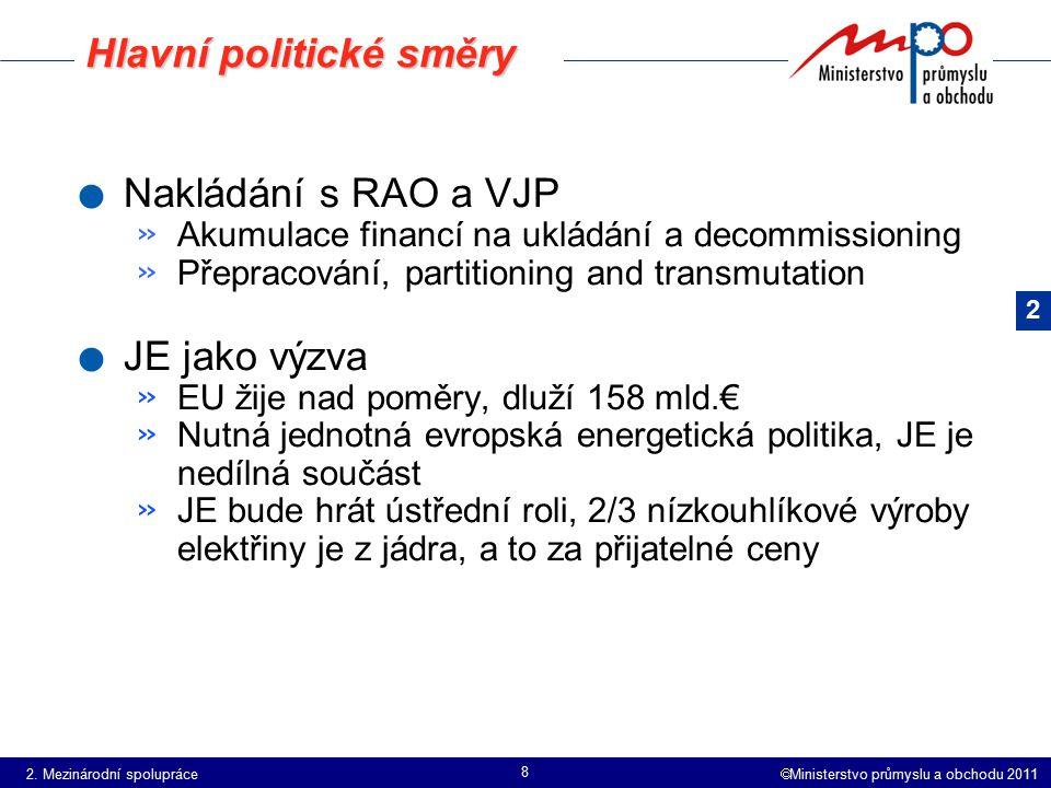  Ministerstvo průmyslu a obchodu 2011 8. Nakládání s RAO a VJP » Akumulace financí na ukládání a decommissioning » Přepracování, partitioning and tra