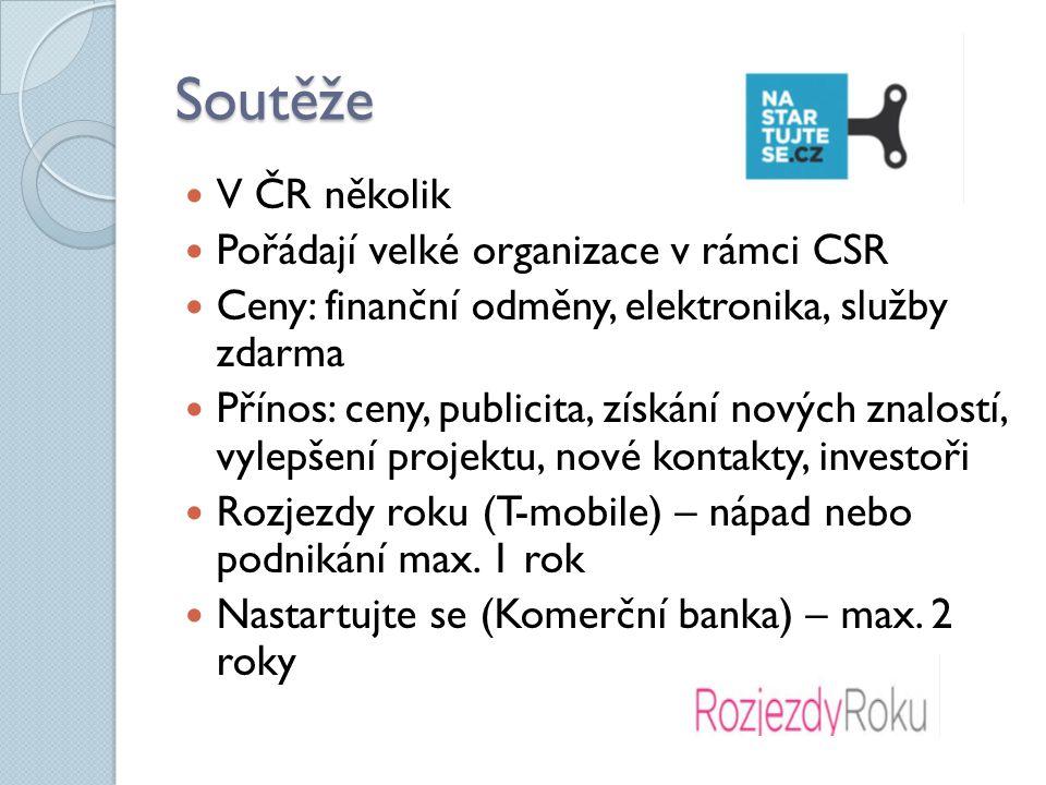 Soutěže V ČR několik Pořádají velké organizace v rámci CSR Ceny: finanční odměny, elektronika, služby zdarma Přínos: ceny, publicita, získání nových znalostí, vylepšení projektu, nové kontakty, investoři Rozjezdy roku (T-mobile) – nápad nebo podnikání max.