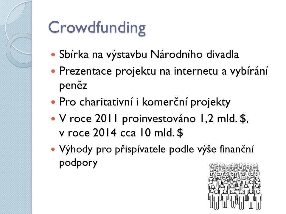 Crowdfunding Sbírka na výstavbu Národního divadla Prezentace projektu na internetu a vybírání peněz Pro charitativní i komerční projekty V roce 2011 proinvestováno 1,2 mld.