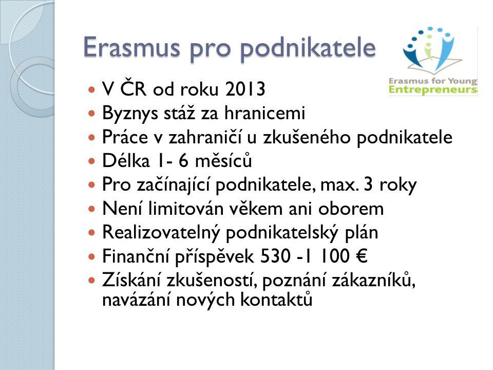 Erasmus pro podnikatele V ČR od roku 2013 Byznys stáž za hranicemi Práce v zahraničí u zkušeného podnikatele Délka 1- 6 měsíců Pro začínající podnikatele, max.
