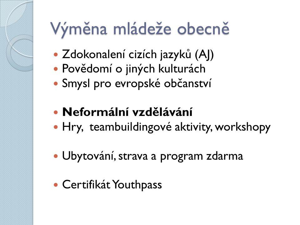 Výměna mládeže obecně Zdokonalení cizích jazyků (AJ) Povědomí o jiných kulturách Smysl pro evropské občanství Neformální vzdělávání Hry, teambuildingové aktivity, workshopy Ubytování, strava a program zdarma Certifikát Youthpass