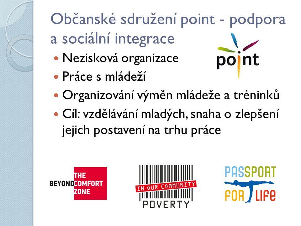 Občanské sdružení point - podpora a sociální integrace Nezisková organizace Práce s mládeží Organizování výměn mládeže a tréninků Cíl: vzdělávání mladých, snaha o zlepšení jejich postavení na trhu práce