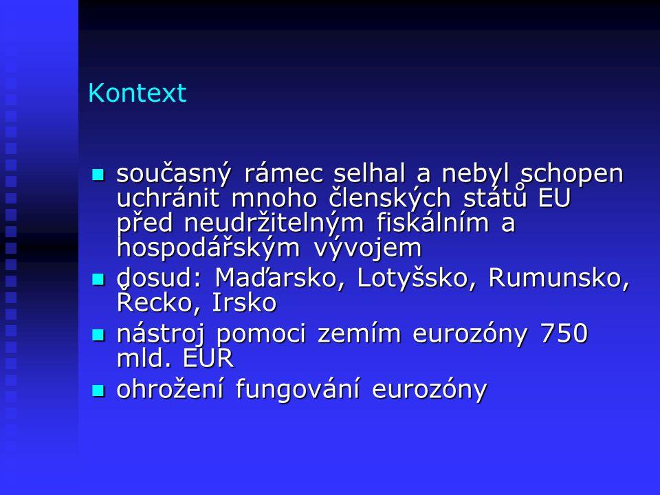 Kontext současný rámec selhal a nebyl schopen uchránit mnoho členských států EU před neudržitelným fiskálním a hospodářským vývojem současný rámec selhal a nebyl schopen uchránit mnoho členských států EU před neudržitelným fiskálním a hospodářským vývojem dosud: Maďarsko, Lotyšsko, Rumunsko, Řecko, Irsko dosud: Maďarsko, Lotyšsko, Rumunsko, Řecko, Irsko nástroj pomoci zemím eurozóny 750 mld.
