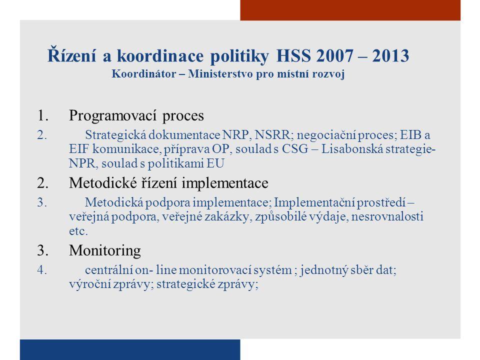 Řízení a koordinace politiky HSS 2007 – 2013 Koordinátor – Ministerstvo pro místní rozvoj 1.Programovací proces 2.Strategická dokumentace NRP, NSRR; n