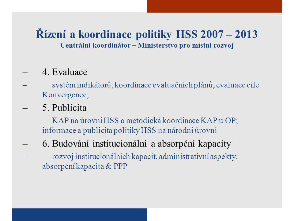 Řízení a koordinace politiky HSS 2007 – 2013 Centrální koordinátor – Ministerstvo pro místní rozvoj –4. Evaluace –systém indikátorů; koordinace evalua
