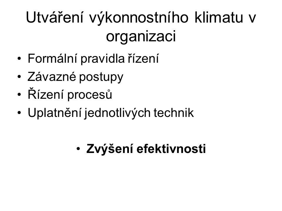 Utváření výkonnostního klimatu v organizaci Formální pravidla řízení Závazné postupy Řízení procesů Uplatnění jednotlivých technik Zvýšení efektivnost