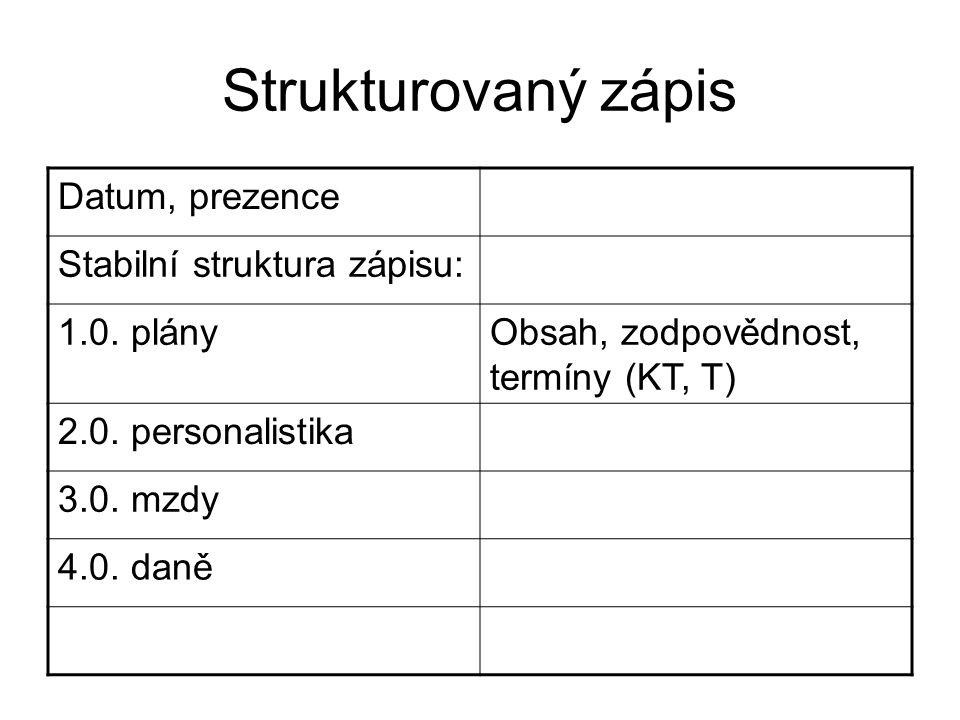 Strukturovaný zápis Datum, prezence Stabilní struktura zápisu: 1.0. plányObsah, zodpovědnost, termíny (KT, T) 2.0. personalistika 3.0. mzdy 4.0. daně