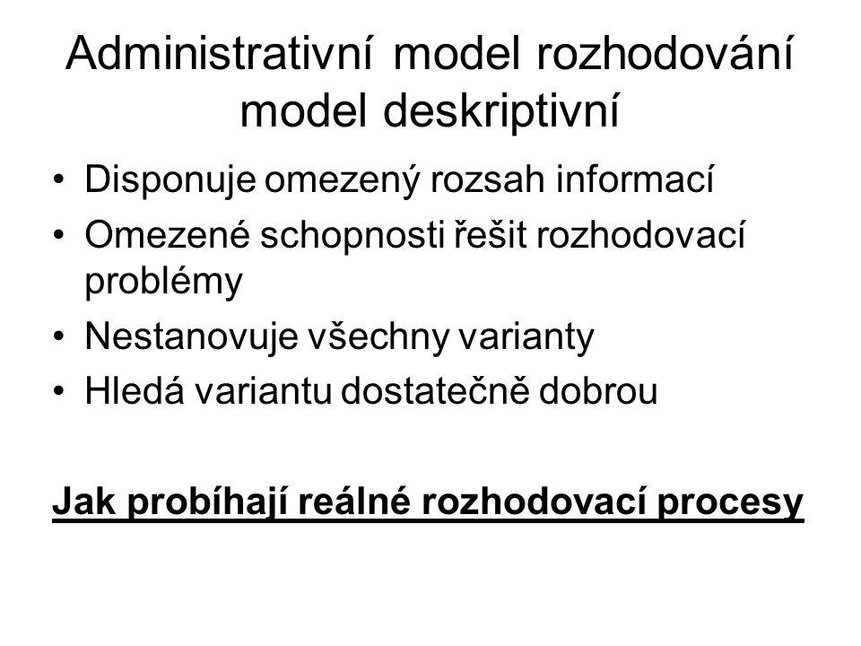 Administrativní model rozhodování model deskriptivní Disponuje omezený rozsah informací Omezené schopnosti řešit rozhodovací problémy Nestanovuje všec