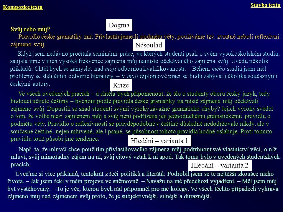 Svůj nebo můj? Pravidlo české gramatiky zní: Přivlastňujeme-li podmětu věty, používáme tzv. zvratné neboli reflexivní zájmeno svůj. Když jsem nedávno
