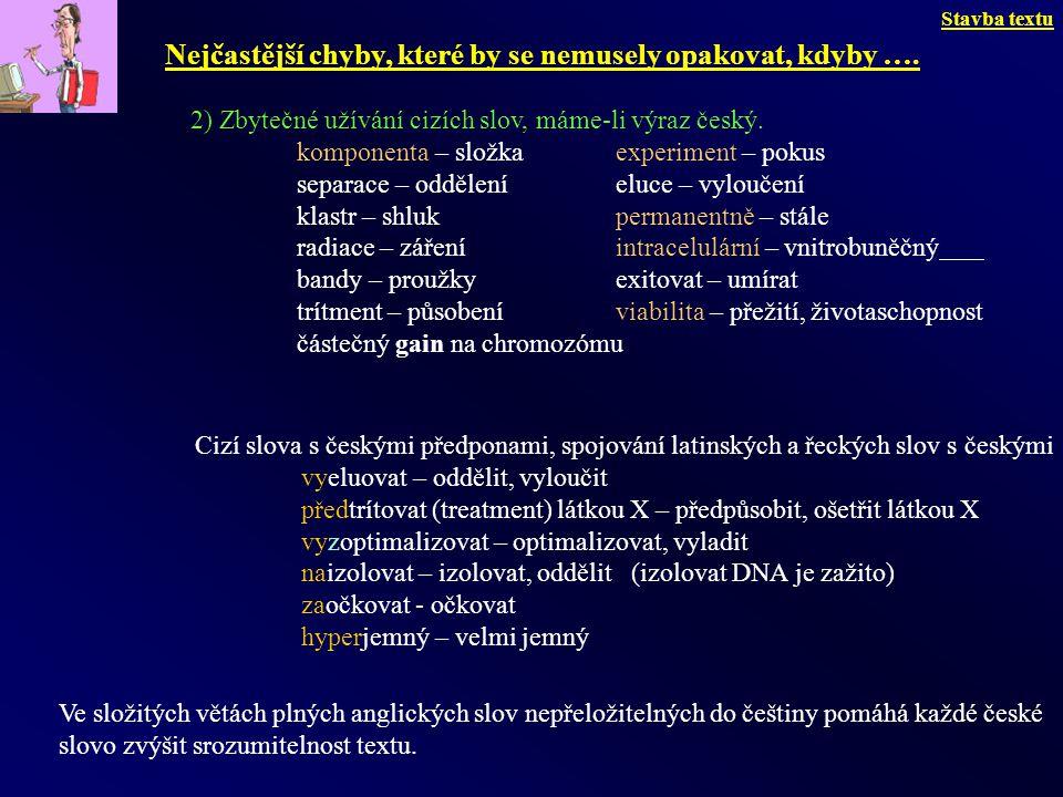 2) Zbytečné užívání cizích slov, máme-li výraz český. komponenta – složka experiment – pokus separace – odděleníeluce – vyloučení klastr – shlukperman