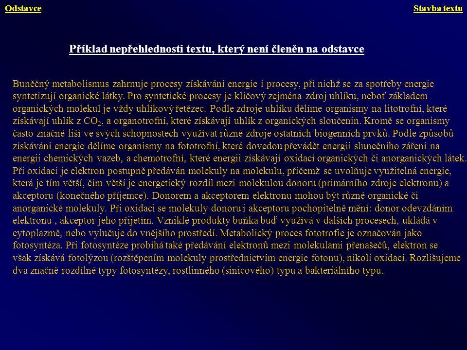 Příklad téhož textu členěného na odstavce Buněčný metabolismus zahrnuje procesy získávání energie i procesy, při nichž se za spotřeby energie syntetizují organické látky.