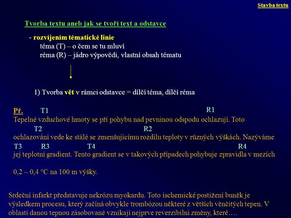 Věty se pak skládají samy, neboť réma (R1) generuje nové téma (T2) na začátku další věty, která pokračuje rématem (R2) tohoto tématu, a to generuje téma (T3) další věty.