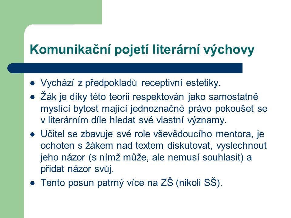 Komunikační pojetí literární výchovy Vychází z předpokladů receptivní estetiky. Žák je díky této teorii respektován jako samostatně myslící bytost maj