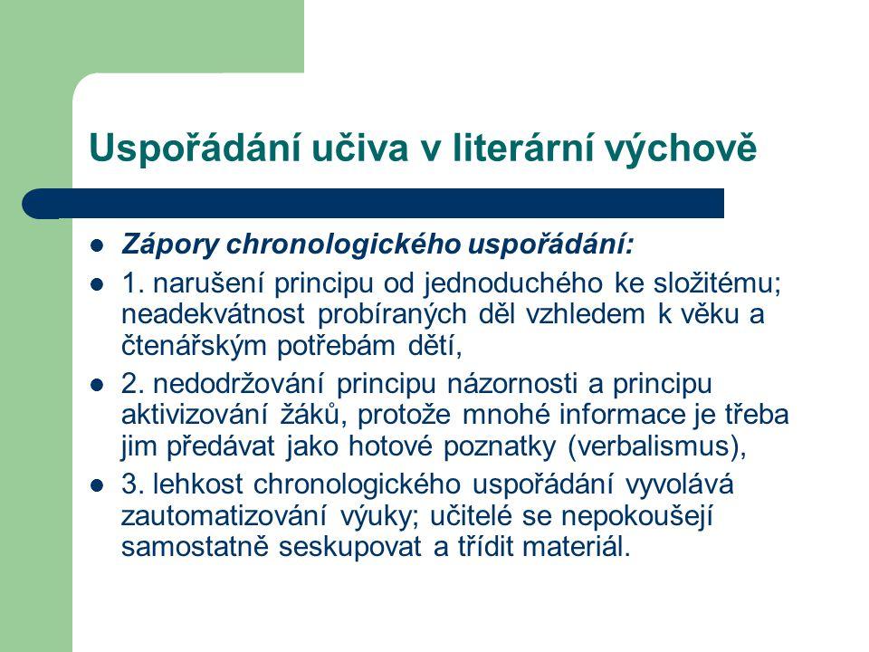 Uspořádání učiva v literární výchově Zápory chronologického uspořádání: 1.