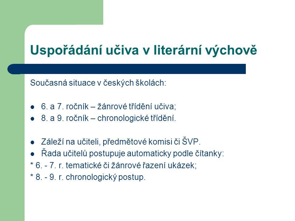 Uspořádání učiva v literární výchově Současná situace v českých školách: 6.