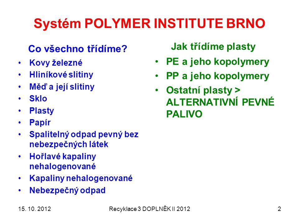 Systém POLYMER INSTITUTE BRNO Co všechno třídíme.