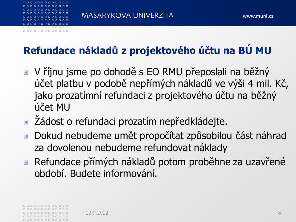 Refundace nákladů z projektového účtu na BÚ MU V říjnu jsme po dohodě s EO RMU přeposlali na běžný účet platbu v podobě nepřímých nákladů ve výši 4 mi