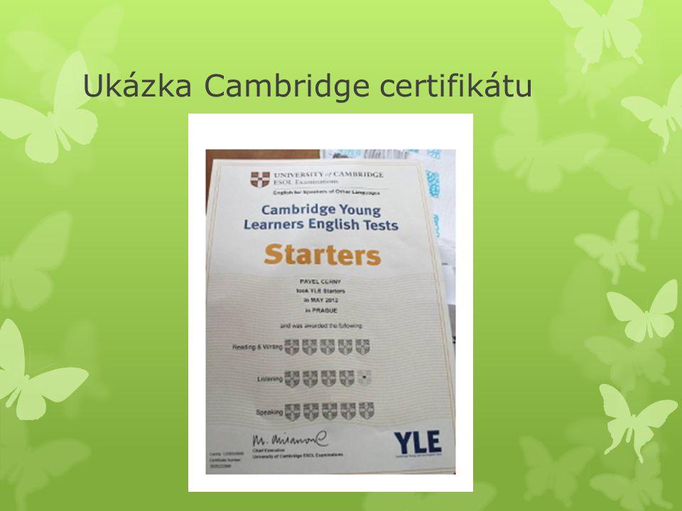 Ukázka Cambridge certifikátu