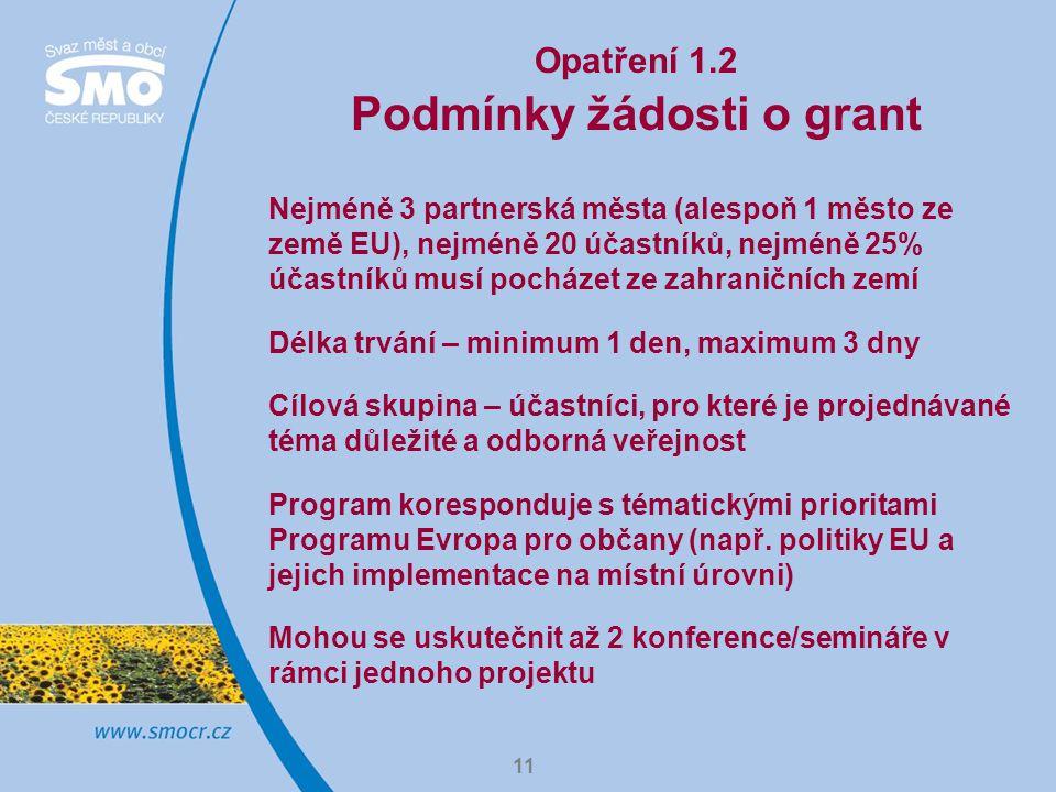 11 Opatření 1.2 Podmínky žádosti o grant Nejméně 3 partnerská města (alespoň 1 město ze země EU), nejméně 20 účastníků, nejméně 25% účastníků musí pocházet ze zahraničních zemí Délka trvání – minimum 1 den, maximum 3 dny Cílová skupina – účastníci, pro které je projednávané téma důležité a odborná veřejnost Program koresponduje s tématickými prioritami Programu Evropa pro občany (např.